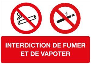 panneau interdiction fumer et vapoter