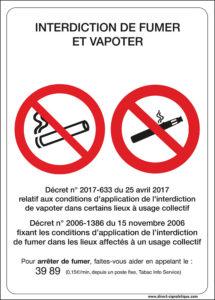 Affichage Interdiction de fumer et de vapoter