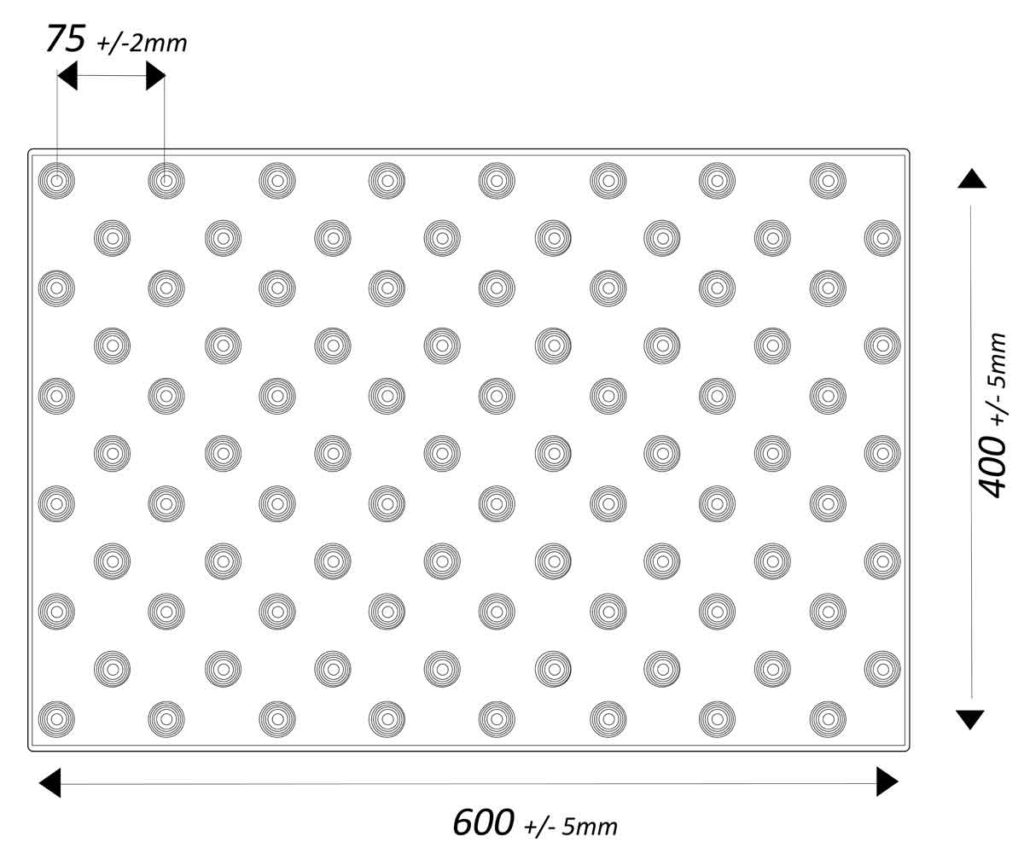 Dimensions dalles podotactiles
