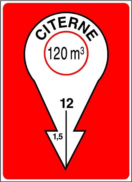 Exemple type de signalisation pour point d'eau. Ici, il s'agit d'une citerne de 120 m3, situé à 12 mètres sous le sol et dont l'accès se trouve à 1,5 mètre à gauche du panneau.