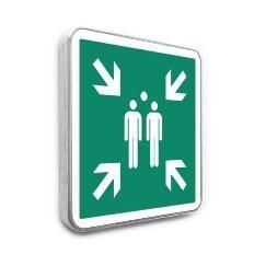 Pictogramme point de rassemblement pour évacuation conforme à la norme ISO 7010 - E007
