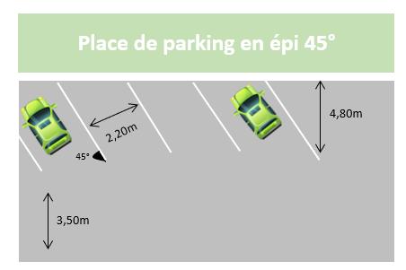 Schéma place de parking en épi 45°